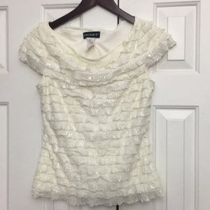 Cachet Tiered Ivory off white top shimmer 6